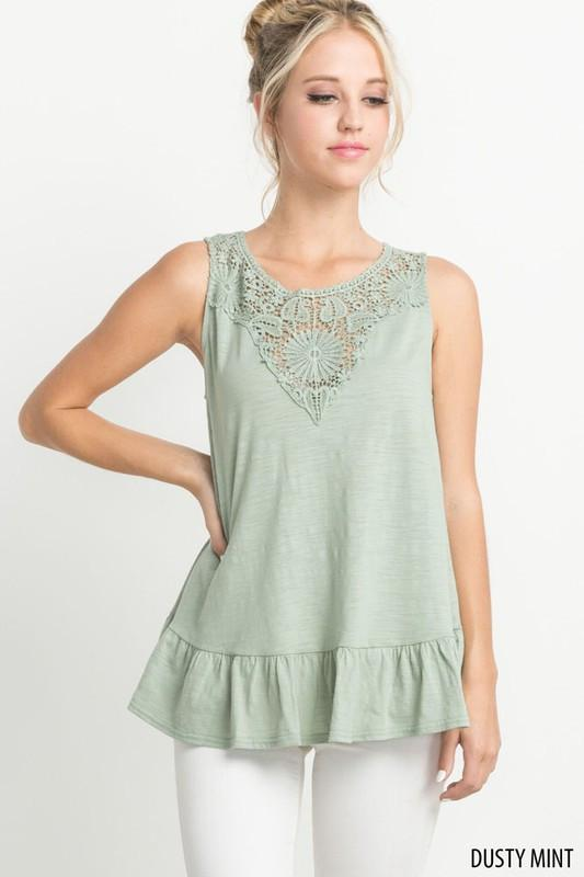Sleeveless Crochet Ruffed Top