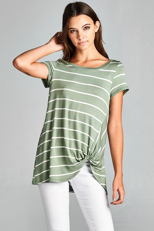Stripe Twist Knot Tunic Top