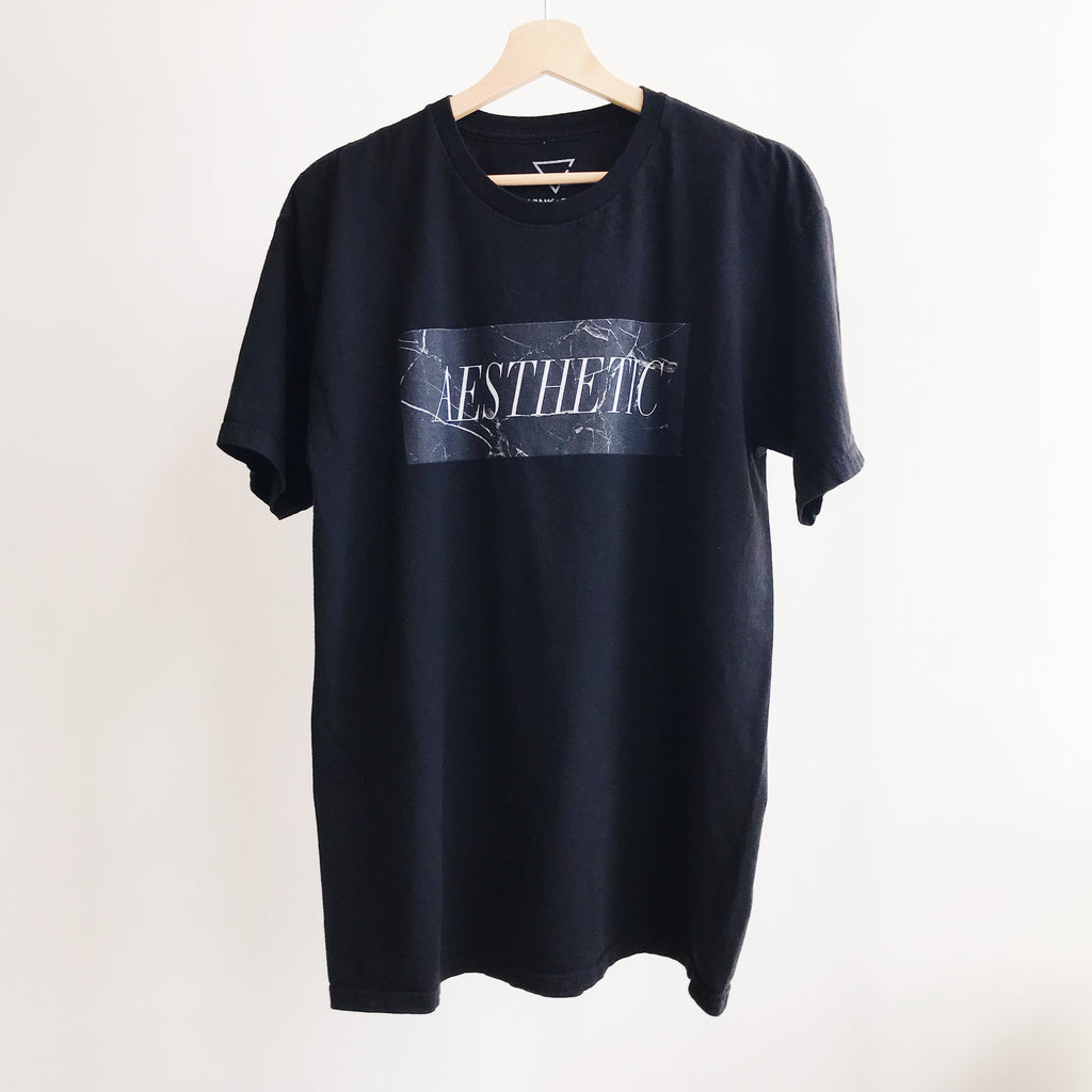 Aesthetic T-shirt - Black Marble - BLANK AND BLUE fb-feed
