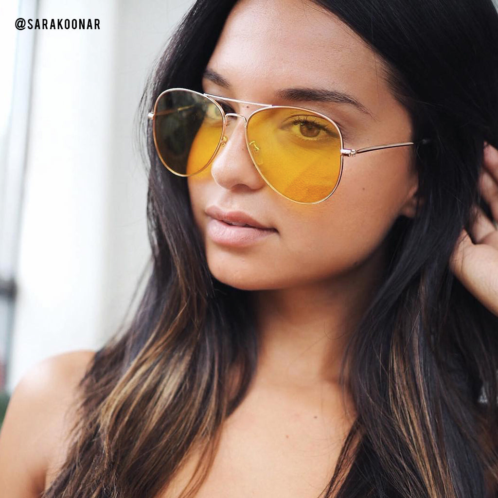 Extra Sunny Yellow Aviators - BLANK AND BLUE