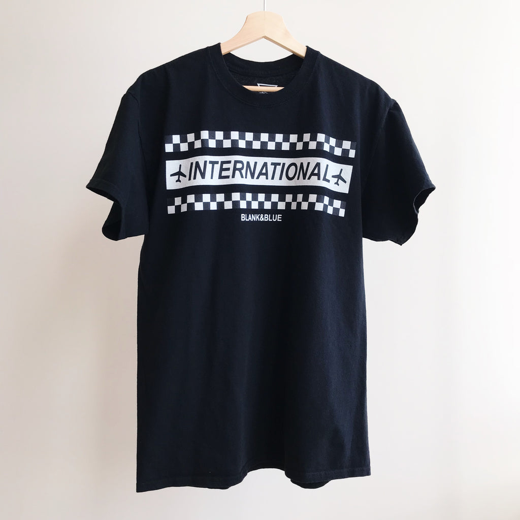 International Traveler T-shirt - BLANK AND BLUE fb-feed