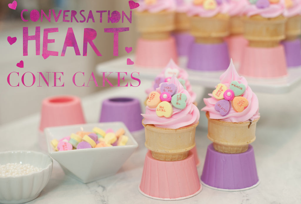 Conversation Heart Cone Cakes