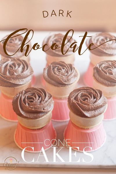Dark chocolate cone cakes