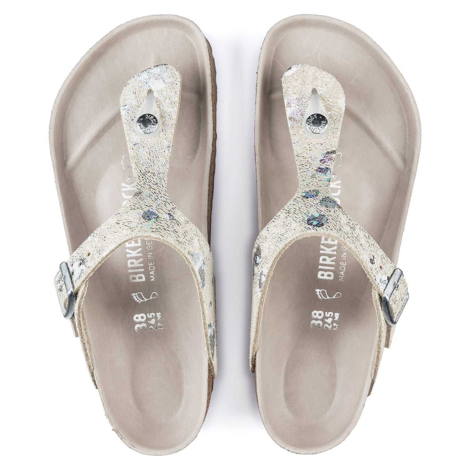 GIZEH SPOTTED METALLIC SILVER NATURAL LEATHER REGULAR getset-footwear.myshopify.com