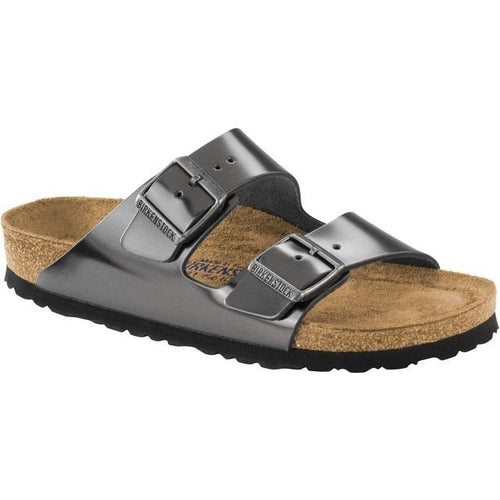 BIRKENSTOCK ARIZONA METALLIC ANTHRACITE LEATHER NARROW SOFT FOOTBED getset-footwear.myshopify.com