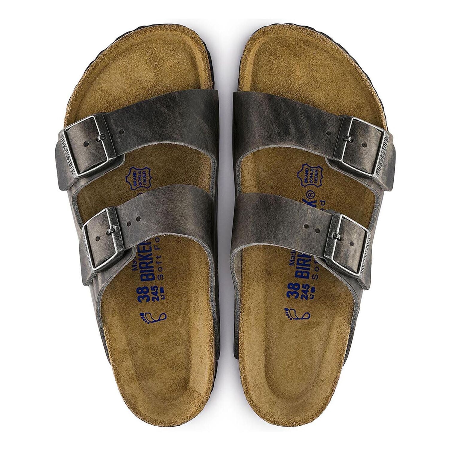 BIRKENSTOCK ARIZONA IRON OILED LEATHER REGULAR SOFT FOOTBED getset-footwear.myshopify.com