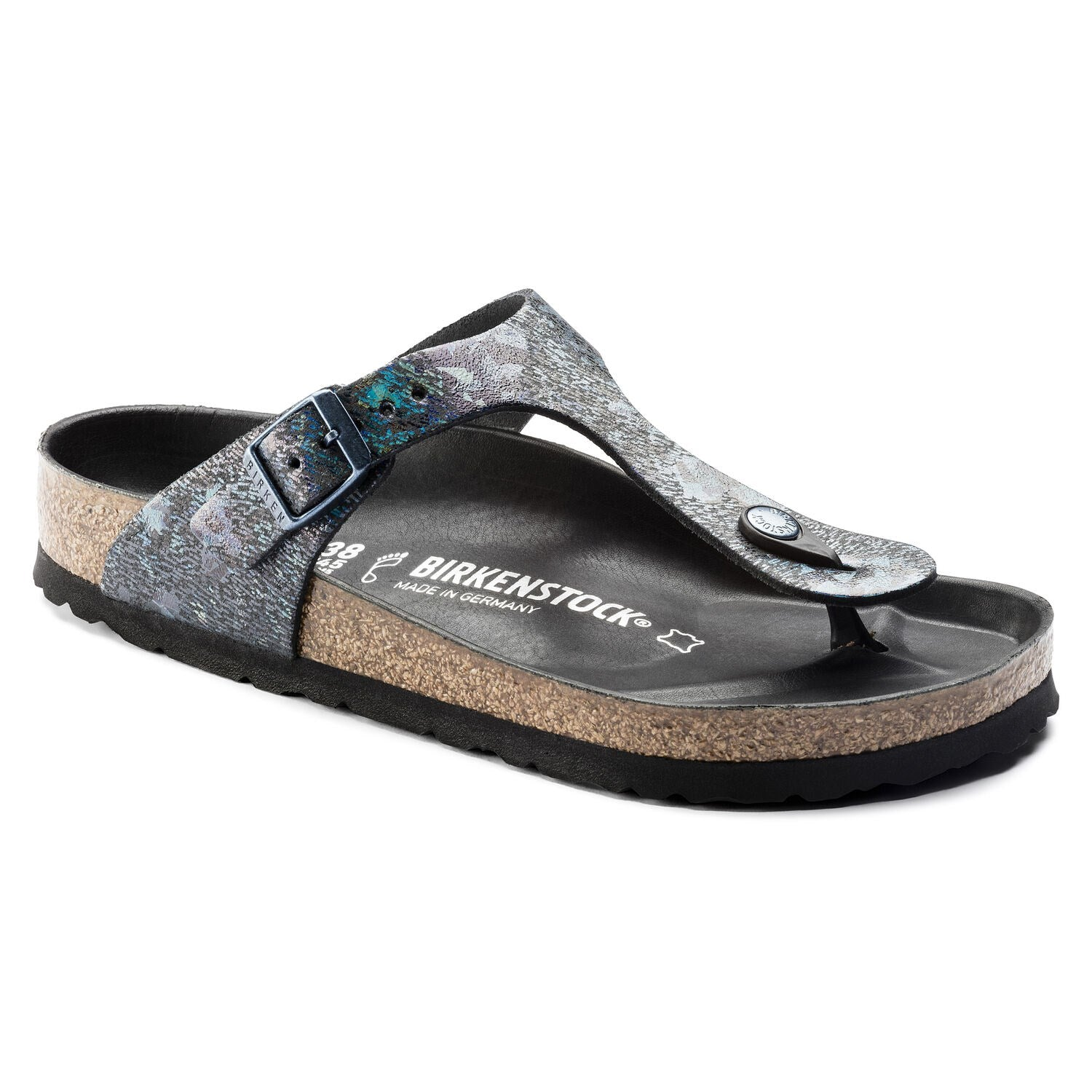 BIRKENSTOCK GIZEH SPOTTED METALLIC BLACK NATURAL LEATHER REGULAR getset-footwear.myshopify.com