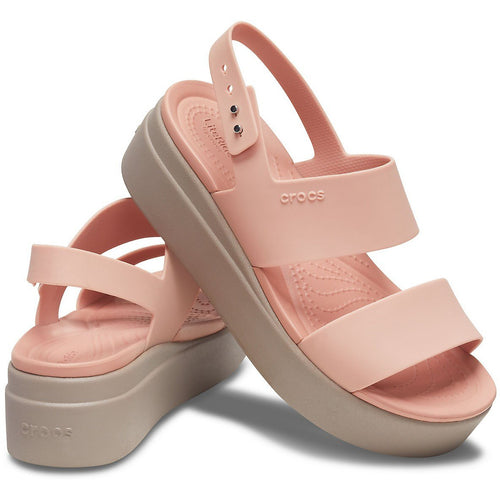 CROCS BROOKLYN LOW WEDGE PALE BLUSH/MUSHROOM - getset-footwear.myshopify.com