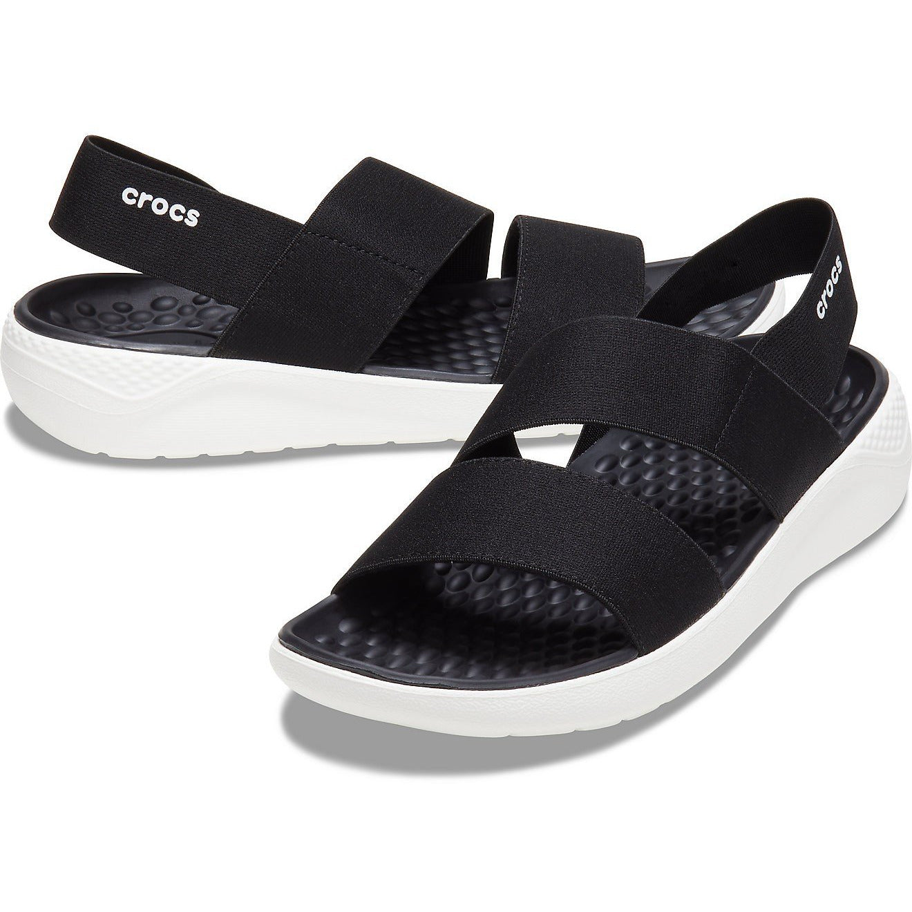 CROCS LITERIDE STRETCH SANDAL BLACK/WHITE