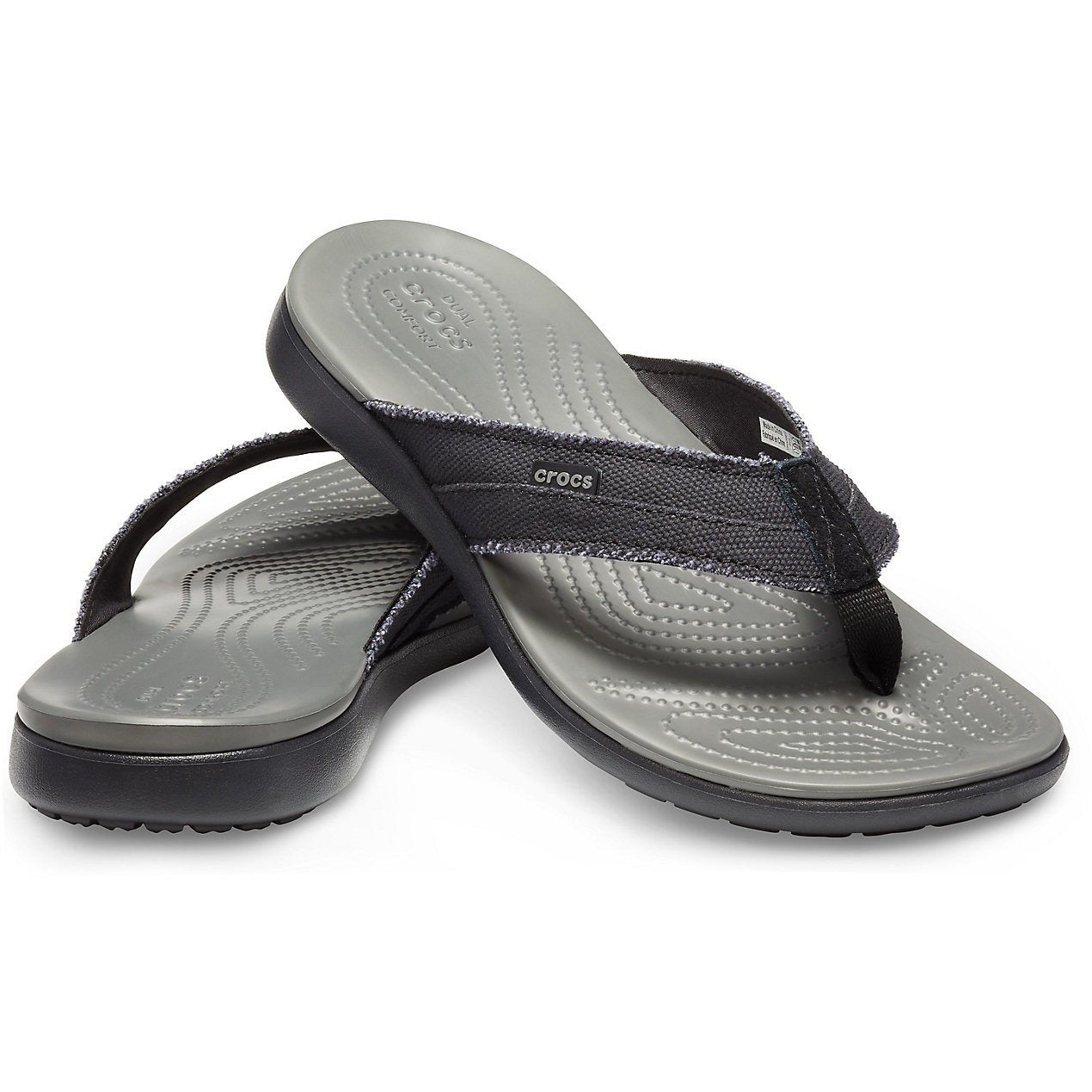 CROCS SANTA CRUZ CANVAS FLIP BLACK/SLATE GREY getset-footwear.myshopify.com