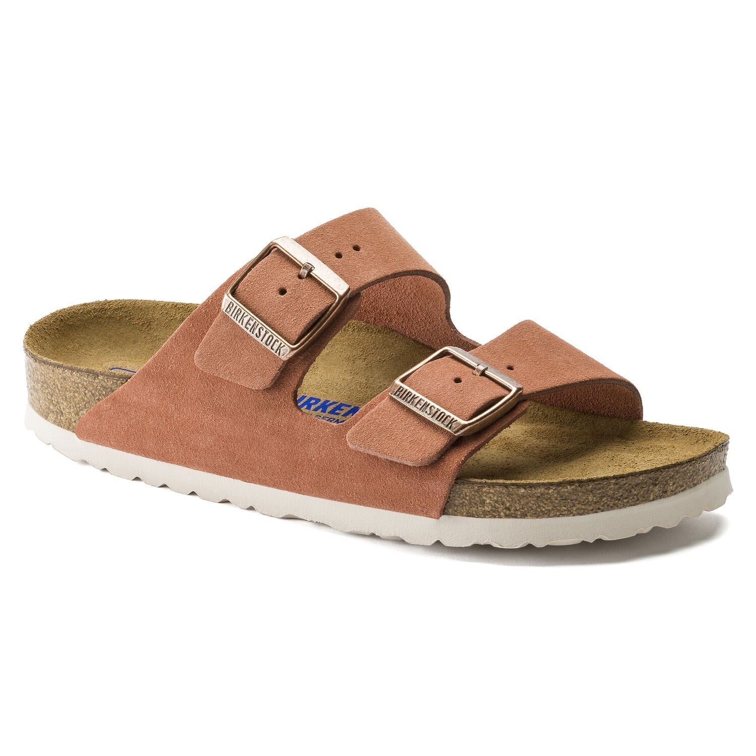 BIRKENSTOCK ARIZONA EARTH RED SUEDE NARROW SOFT FOOTBED