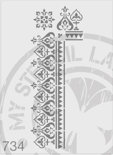 Border & Corner - MSL 734 Stencil XLarge – 97mm Border Thickness (sheet size 175 x 4