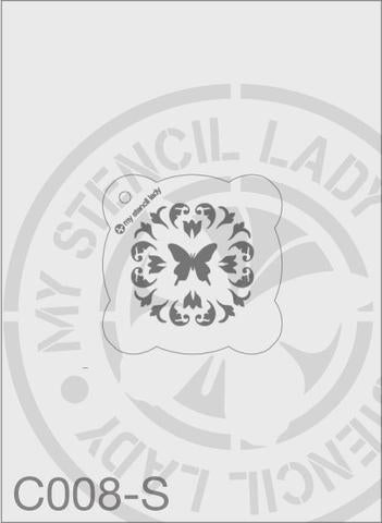 Butterfly - MSL C008 Stencil Small Round 65mm Max Design cutout (sheet size 95x