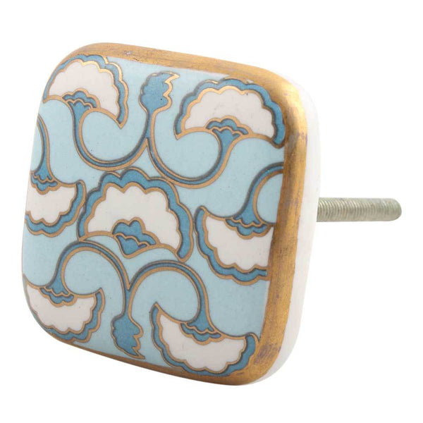 Turquoise Sea Shell Design Square Ceramic Cabinet Knob