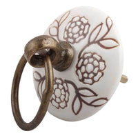Brown Marigold Flower Etched Big Ceramic Flat Drawer Knob Handles and Knobs