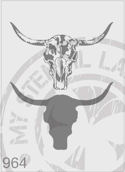 Cow Skull 2 Layers - MSL 964 Stencil Large (Sheet Size 210x295mm)