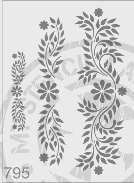 Floral Triple Embellish - MSL 795 Stencil Large (sheet size 210x295mm)