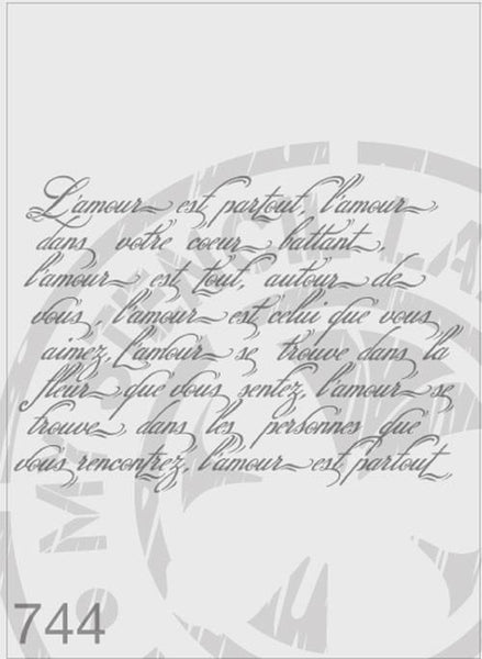 Love Poem French Script - MSL 744 Stencil XXLarge (sheet size 300 x 420mm)