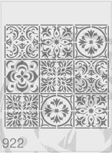 Mixed Tile Stencil Repeat Pattern - 9 tiles per stencil