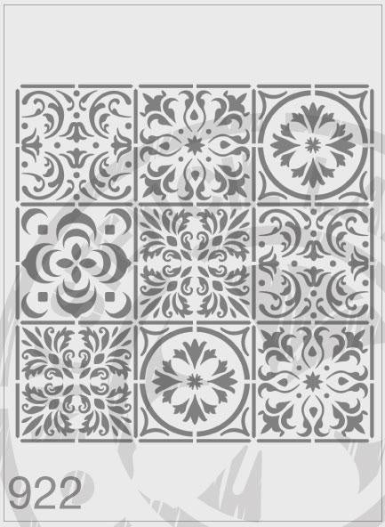 Mixed Tile Stencil Repeat Pattern 9 Tile - MSL 922