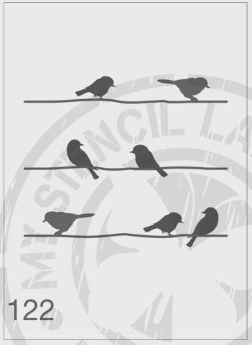 Birds On A Wire - MSL 122 Stencil Large -(sheet size 210 x 295mm)