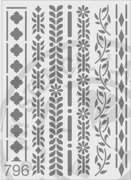 Borders Seven Designs - MSL 796 Stencil XXLarge (sheet size 300 x 420mm)