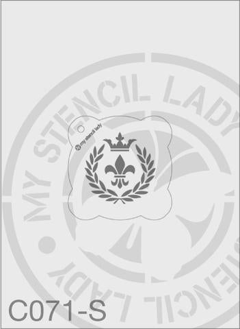 Fleur de Lis Crown And Wreath - MSL C071 Stencil Small Round 65mm Max Design cutout (sheet size 95x