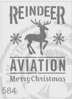Reindeer Aviation Merry Christmas - MSL 584 Stencil XXLarge – (sheet size 300 x 420mm)