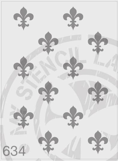 Fleur de Lis Repeat Pattern - MSL 634 Stencil Large - sheet size 210 x 295mm