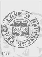 Peace Love 'n Happiness Kombi Stamp - MSL 415 Stencil Large – 185mm cutout (sheet size 210 x 295mm)