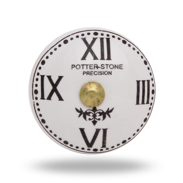 Ceramic Clock Face with Roman Numerals Knob Handles and Knobs