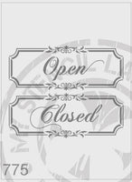Open Closed Sign Panels - MSL 775 Stencil XXLarge - Each Sign Design Cutout is 400 x 138mm (