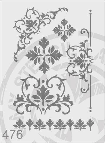 Flourish Damask Package - MSL 476 Stencil Large – (Sheet size 210 x 295mm)