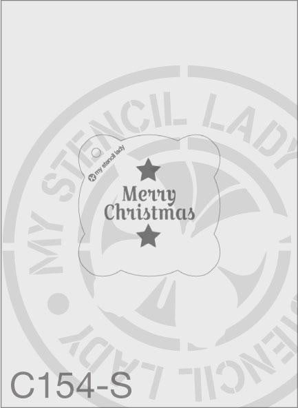 Merry Christmas - MSL C154 Stencil Small Round 65mm Max Design cutout (sheet size 95x