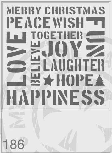 Christmas Theme Words - MSL 186 Stencil XLarge – 285mm cutout (sheet size 300 x 300mm)