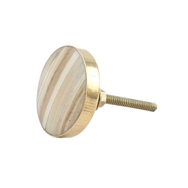 Round Cream Metal and Bone Knob Handles and Knobs