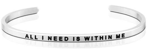 All I Need Is Within Me Jewellery > Affirmation Bracelet > Mantra Bands Silver