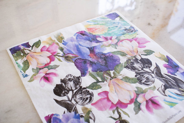 Colorful Floral with Black & White Rice Paper Set