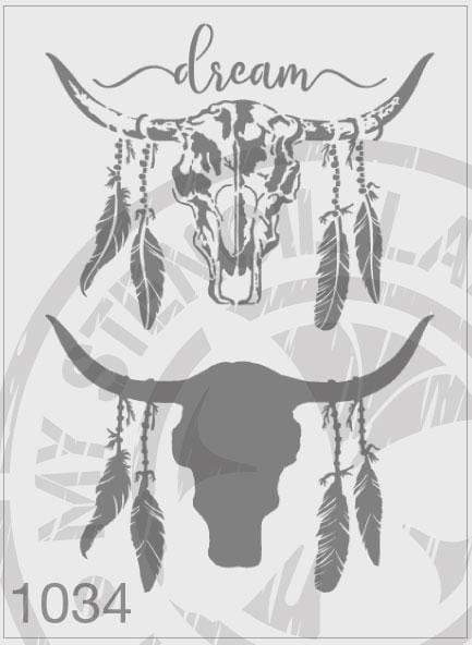 Cow Skull Dream Feathers - 2 Layers- MSL 1034 Stencil Large (Sheet Size 210x295mm)