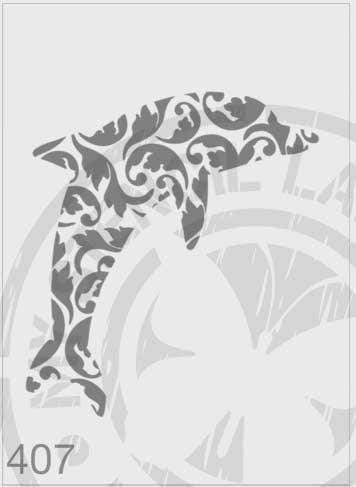 Dolphin Ornate- MSL 407 Stencil Large - Design 190x221mm (Sheet Size 210x295mm)