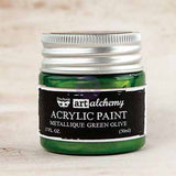 Art Alchemy Finnabair Acrylic Paints - 50ml Paint Metallique Green Olive