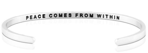 Peace Comes From Within Jewellery > Affirmation Bracelet > Mantra Bands Silver