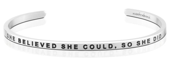 She Believed She Could, So She Did Jewellery > Affirmation Bracelet > Mantra Bands Silver