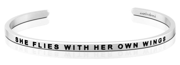 She Flies With Her Own Wings Jewellery > Affirmation Bracelet > Mantra Bands Silver