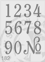 Numbers - MSL 182 Stencil Medium - 43mm approx No. Height (sheet size 140 x