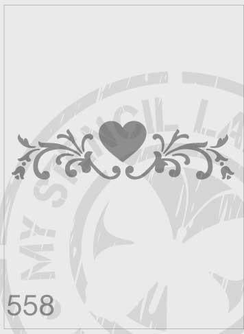 Love Heart Flourish - MSL 558 Stencil Medium (Sheet Size 140x210mm)