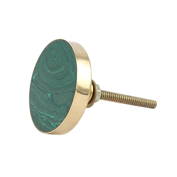 Round Sea Green Metal and Resin Knob Handles and Knobs