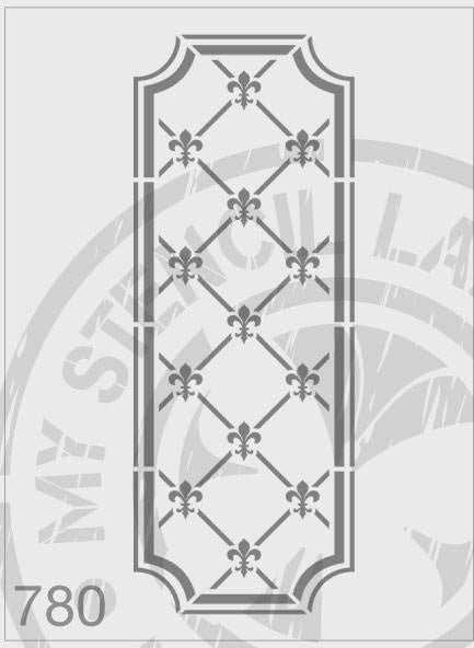 Fleur de Lis Repeating Panel - MSL 780 Stencil XXLarge (Sheet size 175x420mm)