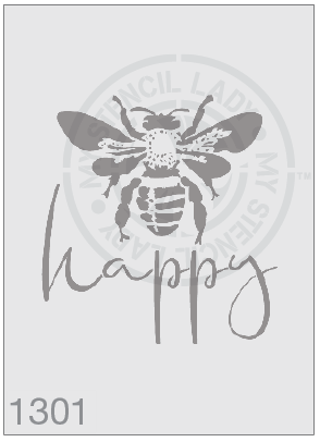 Bee Happy - MSL 1201 Stencil Large - 185mm Cutout (Sheet Size 200x200mm)