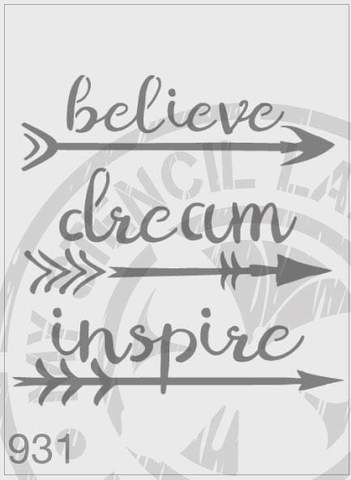 Arrows - Believe Dream Inspire MSL 931 Stencil Medium - 140mm Cutout (Sheet Size 155x155mm)
